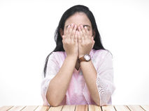 Asian teenager covering her eyes Stock Photos