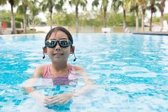 Asian teenager girl with goggles Royalty Free Stock Photography