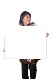 Asian teenager holding blank white card . Stock Image