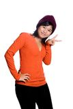 Asian teenager showing peace sign, Stock Image