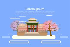 Asian Temple Chinese Or Japanese Pagoda Building Landscape Asian Traditional Architecture Element Concept. Flat Vector Illustration stock illustration