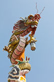 Asian temple dragon. Isolated on red background Royalty Free Stock Photos