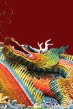 Asian temple dragon. Isolated on red background Royalty Free Stock Photography