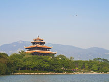 Asian temple and kite Stock Photography