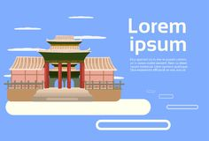 Asian Temple Landscape Traditional Pagoda Building Asian Background Orient Architecture Concept. Flat Vector Illustration royalty free illustration