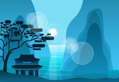 Asian Temple In Mountains In Night On Background Silhouette Pagoda Landscape. Flat Vector Illustration royalty free illustration
