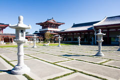 Asian temple's square. Asian temple in Auckland, New Zealand stock photography