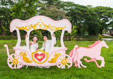 Asian Thai Bridal in Love Carriage Stock Images