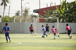 Asian thai children playing futsal in tournament at futsal pitch Stock Images