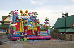 Asian thai children relax playing on inflatable playground or in Royalty Free Stock Image