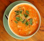 Asian thai cuisine red curri soup with shrimps Stock Photography