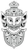 Asian or Thai demon head line art Stock Photos