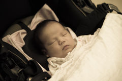 Asian Thai female baby sleeping look like old image Stock Images