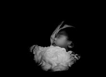 Asian Thai female baby sleeping in troller black and white Stock Images