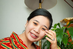Asian Thai Girl with Beautiful Hair Style and Wedding Ring Stock Image