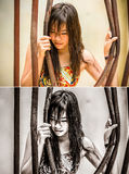 Asian Thai girl is bending the prison bar with her power in grun Royalty Free Stock Image