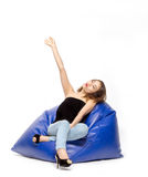 Asian Thai girl feel relax on bean bag Stock Photo