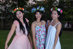 Asian Thai Girls with Flower Crown in the Park.  Stock Image