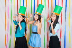 Asian-Thai Girls with Big Green Hat on St.Patrick's Day Royalty Free Stock Images