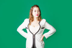 Asian Thai lady officer with business wear acting like serious b Stock Photos