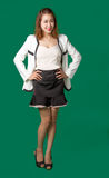 Asian Thai lady officer with business wear acting. Like smiling happy action on green screen background stock photography