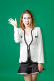 Asian Thai lady officer with business wear acting. Asian Thai business woman greeting happy action  on green screen Royalty Free Stock Photography
