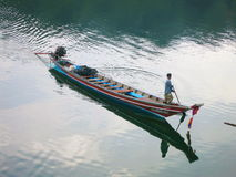 Asian Thai local boat floating on river Stock Photo