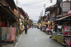 Asian thai people and foreigner travelers visit travel and walking shopping on street night market at Chiang Khan Stock Image