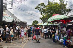 Asian thai people and foreigner travelers walking shopping and visit at Chatuchak Weekend Market Stock Photos