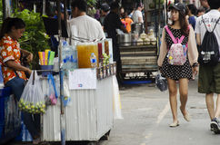 Asian thai people and foreigner travelers walking shopping and visit at Chatuchak Weekend Market Stock Image