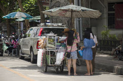 Asian thai people and foreigner travelers walking shopping and visit local shop at Chatuchak Weekend Market. On April 15, 2017 in Bangkok, Thailand Royalty Free Stock Photos