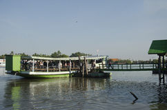 Asian thai people passenger by Ferry boat across Mae klong river Royalty Free Stock Images