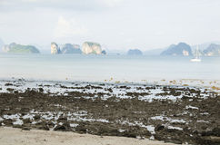 Asian thai people stop sailboat at bay on the andaman sea Royalty Free Stock Photography