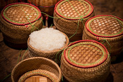 Asian Thai sticky rice in a bamboo wooden style box Stock Photos