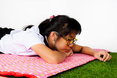 Asian Thai Student with Grass Stock Images