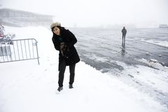 Asian thai women playing and posing for take photo while snowing Royalty Free Stock Photos