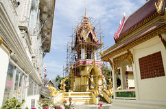Asian thai worker people renovate and repair restore chedi at Wa. T Muang temple on January 25, 2017 in Ang Thong, Thailand Stock Photography