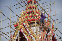 Asian thai worker people renovate and repair restore chedi at Wa. T Muang temple on January 25, 2017 in Ang Thong, Thailand Stock Photos