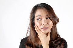 Asian thai worry face shape Royalty Free Stock Images