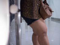 Asian thighs of fat women. She wears shorts and long-sleeved shirts to see excess fat stock image