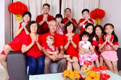 Chinese new year. Asian three generations family celebrate chinese new year stock photos