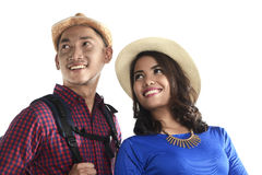 Asian Tourist Couple Smiling Royalty Free Stock Photo