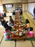 Asian tourist have lunch in Japanese restaurant Royalty Free Stock Images