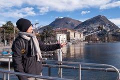 Asian tourist shooting a Selfie Royalty Free Stock Photos