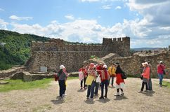 Asian Tourists In Tsarevets Fortress, Veliko Tarnovo, Bulgaria Royalty Free Stock Photos