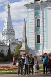 Asian tourists visit Trinity Sergius Lavra in Russia. royalty free stock photo