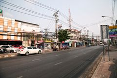 Asian town road with nobody. Pattaya, Thailand - March 22, 2016: Empty city street cityscape in Asia Royalty Free Stock Photo