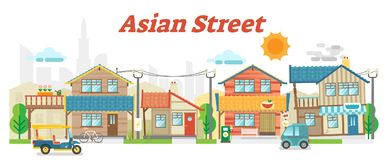 Asian town street outdoor scene with buildings. Casual asian town street outdoor scene with buildings and transportation, vector flat illustration vector illustration