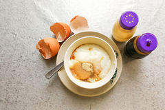 Asian traditional breakfast half boiled eggs with soy sauce pepp Royalty Free Stock Photography