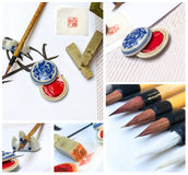 Asian traditional brush pen and ink Royalty Free Stock Photo